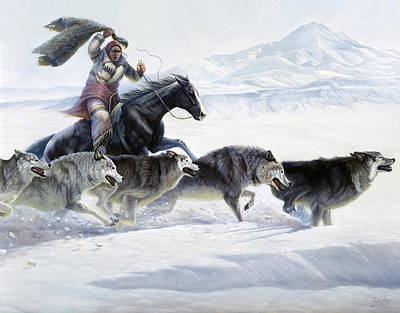 Indian Fine Art Painting - The Pack by Gregory Perillo