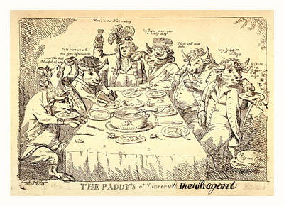 The Paddys At Dinner With Puddinghead, The Regent, London Print by Welsh School