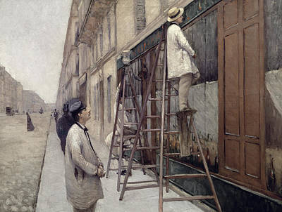 Worker Painting - The Painters by Gustave Caillebotte