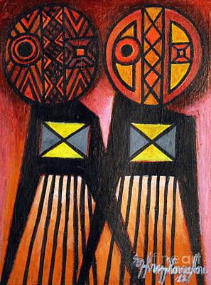 Contemporary Ethnic Artist Painting - The Pairing by Ephrem Kouakou