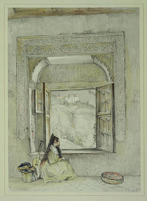 Pensive Drawing - The Palace Of The Generalife by John Frederick Lewis