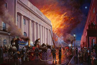 Streetscenes Painting - The Pantechnicon Fire. 1874. by Mike  Jeffries