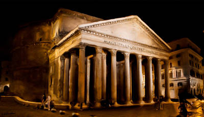 Photograph - The Pantheon At Night - Painting by Weston Westmoreland