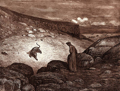 Panther Drawing - The Panther In The Desert, By Gustave Dore by Litz Collection