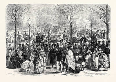 Jesus Christ Drawing - The Paris Easter Promenade At Longchamps France 1869 by French School