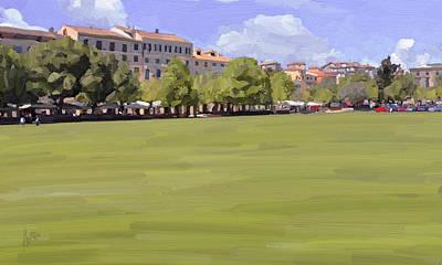 Lights Painting - The Park Along The Esplanada In Kerkyra by Nop Briex