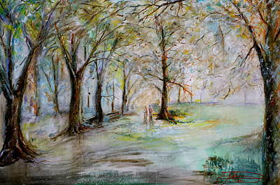Early Spring Painting - The Park Bench by Jack Diamond
