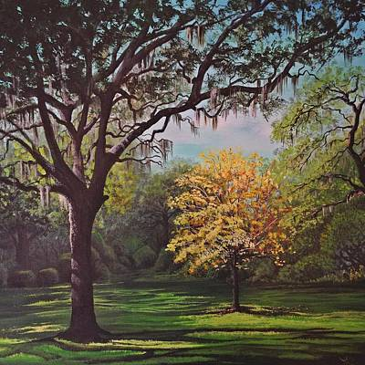 Live Oak Trees Painting - The Park Walk by Laura Parrish