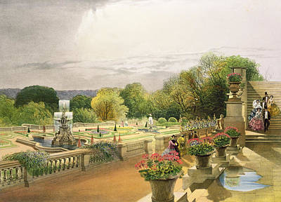 Leeds Painting - The Parterre Harewood House Near Leeds by E Adveno Brooke