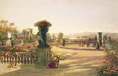 The Parterre  Trentham Hall Gardens Art Print by E Adveno Brooke
