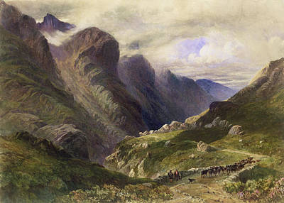 Storm Drawing - The Pass Of Glencoe, 1852 by William Bennett