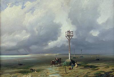 Horse And Cart Photograph - The Passage Du Gois At Noirmoutier, 1859 Oil On Canvas by Prosper Barbot