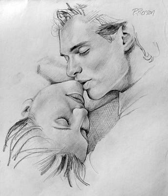 Kisses Drawing - Passion Of The Kiss by Patrick Anthony Pierson