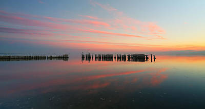 Pastel Sunset Photograph - The Pastel Sea - Panorama  by Larry Marshall