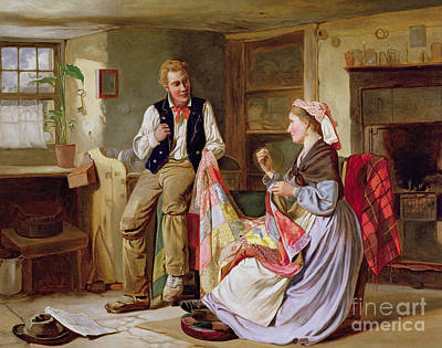 Patchwork Quilts Painting - The Patchwork Quilt by William Henry Midwood