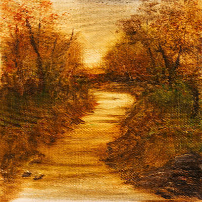 Warm Tones Drawing - Landscape - Trees - The Path by Barry Jones