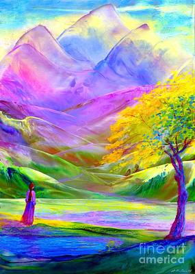 Figurative Painting - Misty Mountains, Fall Color And Aspens by Jane Small