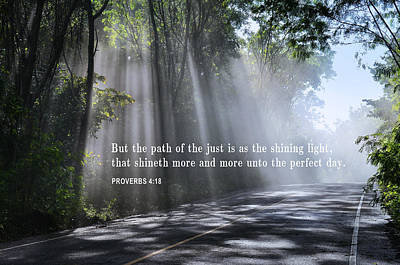 Path In Life Photograph - The Path Of The Just - Proverbs 4-18 by Daniel Hagerman