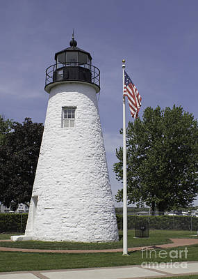 The Patriotic Lighthouse At Concord Point Art Print by Arlene Carmel