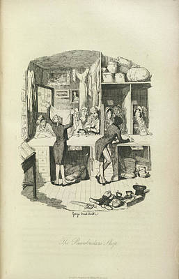 The Pawnbrokers Shop Print by British Library