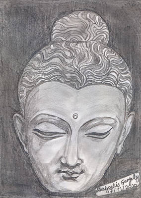 Buddha Sketch Drawing - The Peacemaker by Debashis Ganguly