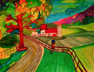 Autumn Landscape Drawing - The Peach Picker by Jill Jacobs
