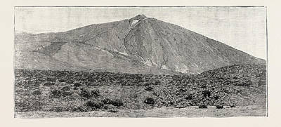 Canary Drawing - The Peak Of Tenerife, From The Canadas On The South by Canadian School