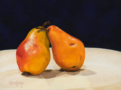 Art Print featuring the painting The Pearfect Pair by Dee Dee  Whittle