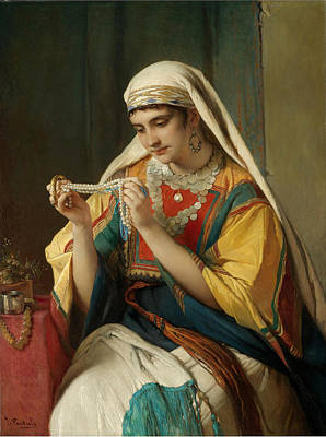 Shawl Painting - The Pearl Necklace by Jean Francois Portaels