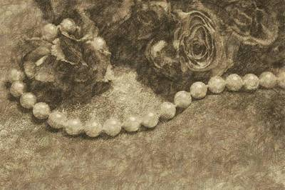 Pearls Drawing - The Pearl Necklace by The Art Of Marilyn Ridoutt-Greene
