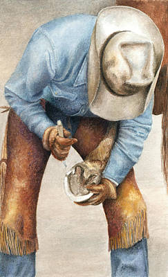 Cowboy Painting - The Pedicure by Pat Erickson