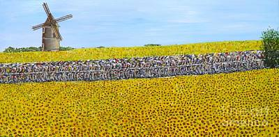 Abstract Windmill Painting - Peloton Andonandon by Chris O'Reilly