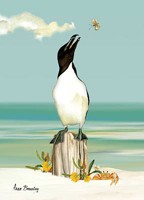Razorbill Wall Art - Painting - The Penguin Has Landed by Anne Beverley-Stamps