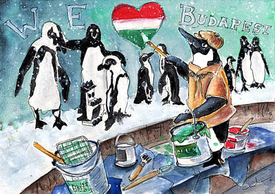 Penguin Drawing - The Penguins From Budapest by Miki De Goodaboom