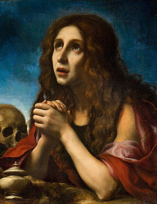 Brown Hair Painting - The Penitent Magdalen by Carlo Dolci