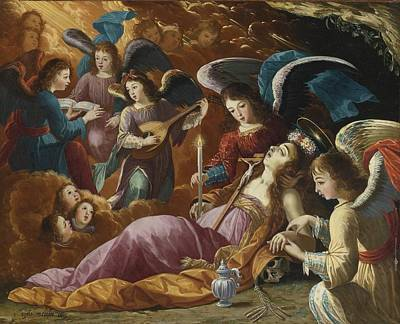 Comfort Painting - The Penitent Magdalene Comforted By Angels by Celestial Images