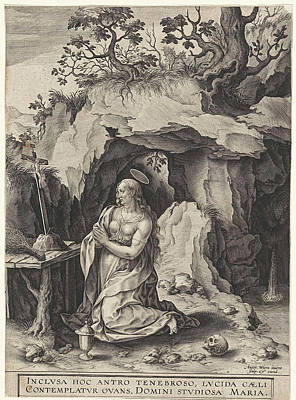 St Mary Magdalene Drawing - The Penitent Mary Magdalene, Antonie Wierix II by Antonie Wierix Ii