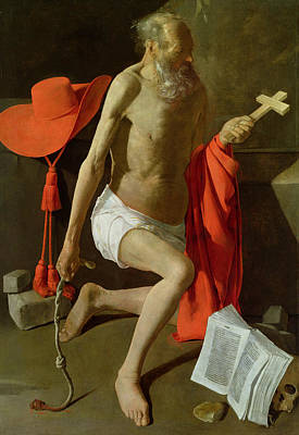 Flagellation Painting - The Penitent St Jerome  by Georges de la Tour