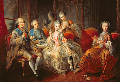 Aristocracy Photograph - The Penthievre Family Or The Cup Of Chocolate, 1768 Oil On Canvas by Jean Baptiste Charpentier