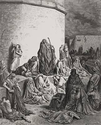Jerusalem Drawing - The People Mourning Over The Ruins Of Jerusalem by Gustave Dore