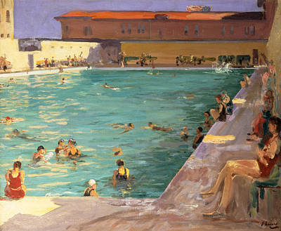 The Peoples Pool, Palm Beach, 1927 Art Print by Sir John Lavery