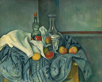 Apple Painting - The Peppermint Bottle by Paul Cezanne