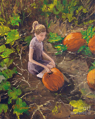 Picking Pumpkins Painting - The Perfect Pumpkin by Cindy Roesinger