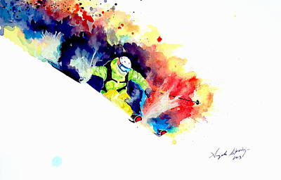 Powder Skiing Painting - The Perfect Turn by Angee Skoubye