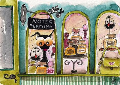 Stressie Cat Painting - The Perfume Store by Lucia Stewart