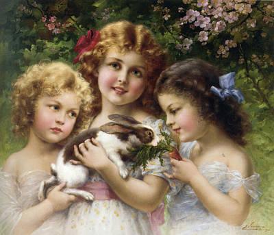Little Girl Digital Art - The Pet Rabbit by Emile Vernon