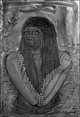 Afro American Art Drawing - The Pharaoh's Daughter by Vernon Rowlette