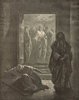 Messianic Drawing - The Pharisee And The Publican by Antique Engravings