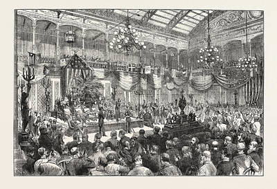 Philadelphia Drawing - The Philadelphia Centennial Exhibition, The Presentation by American School