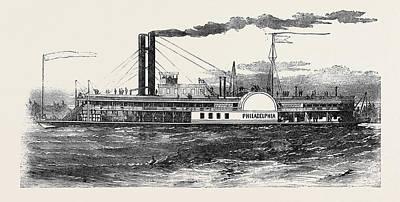 Philadelphia Drawing - The Philadelphia Mississippi Steamer by English School